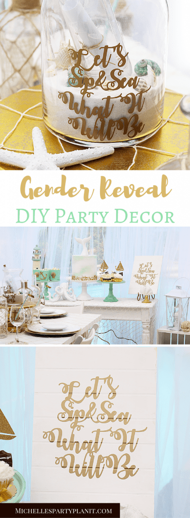 Gender Reveal Party Decor DIY by Michelle's Party Plan-It for Cricut. #AD #cricutmade #partywithcricut