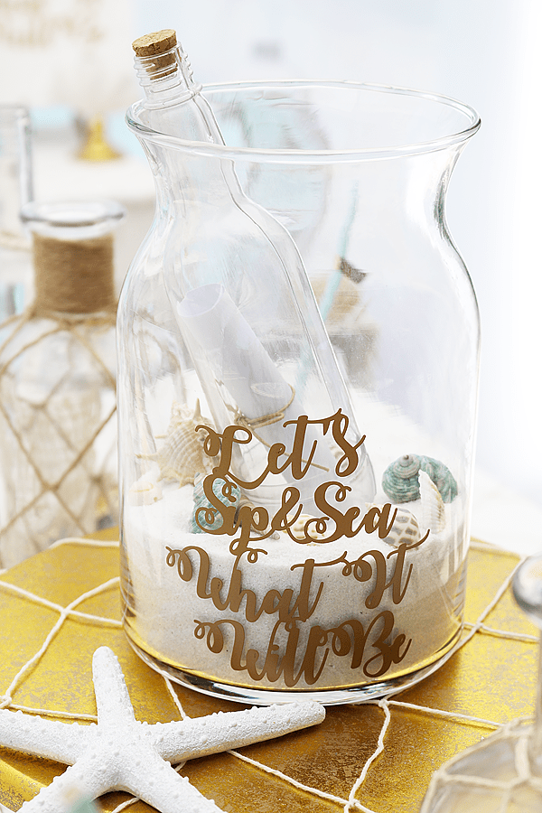 Sip & Sea Gender Reveal Party Message in a Bottle - gender reveal party decor