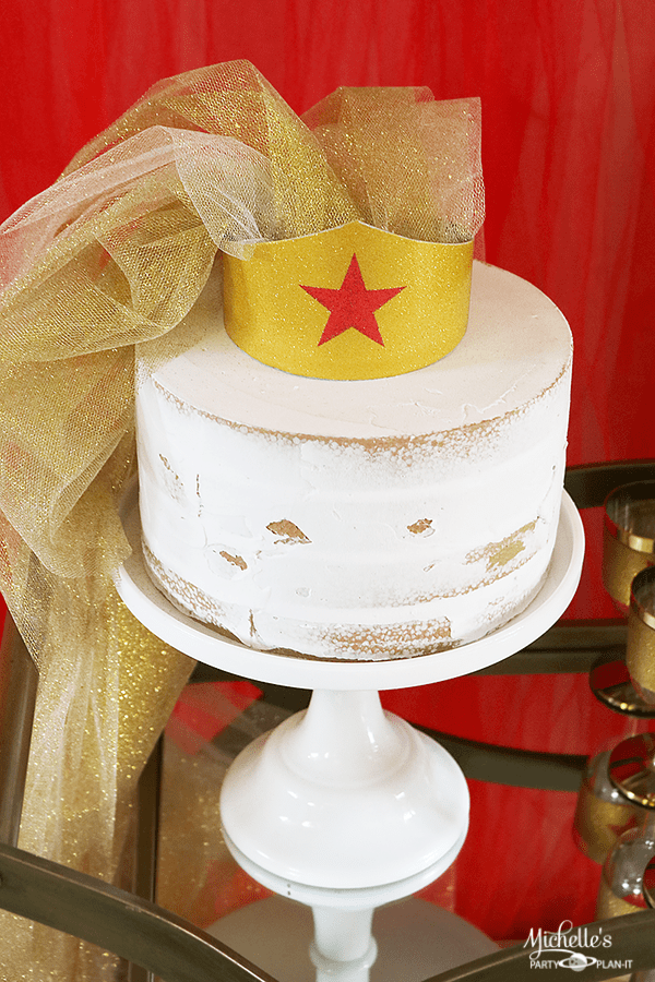 Wonder Woman Bridal Shower Veil and Cake Topper