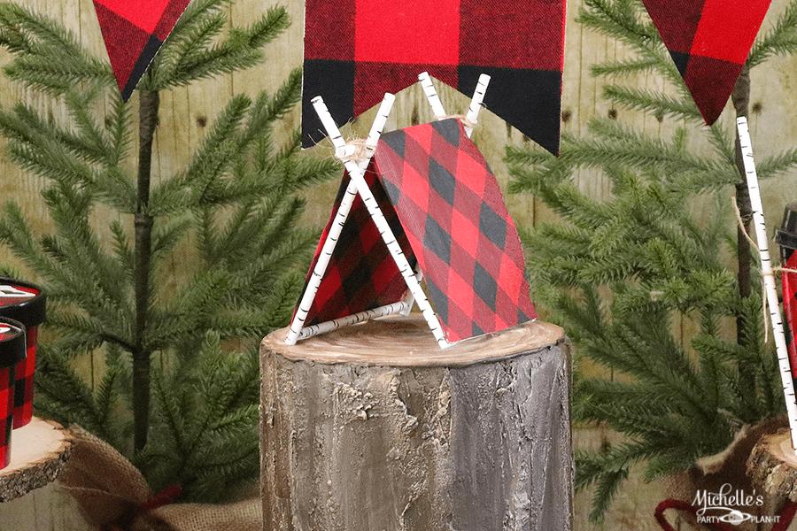 DIY Tent Cake Topper Lumberjack Party Ideas Michelles