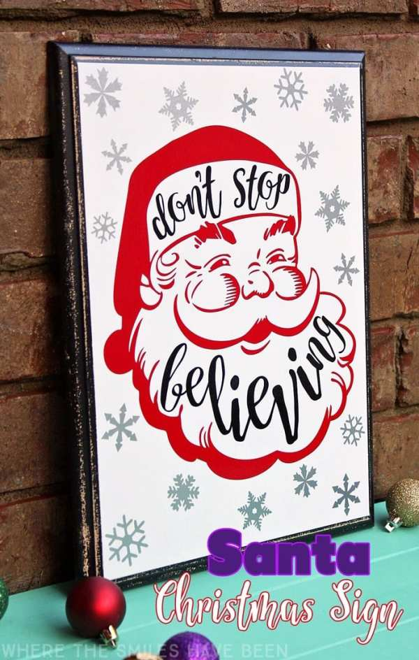 Don't Stop Believing Santa Sign