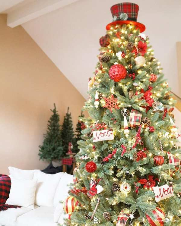 plaid christmas tree and hat topper