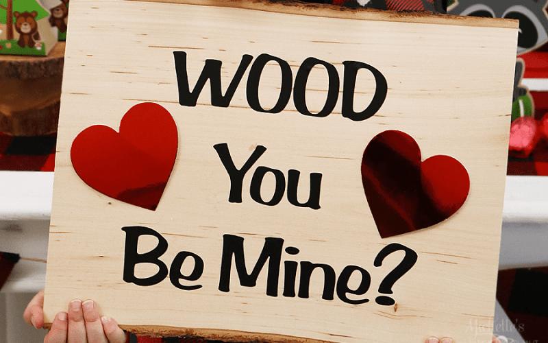 Wood u be mine valentines day sign