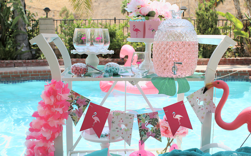 End of summer flamingo party bar cart