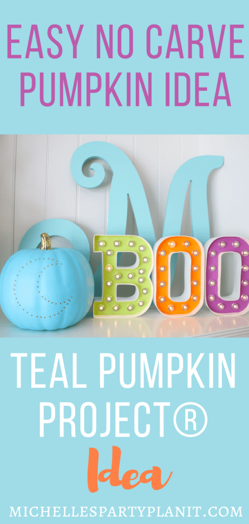 Easy No Carve Pumpkin Idea for Teal Pumpkin Project