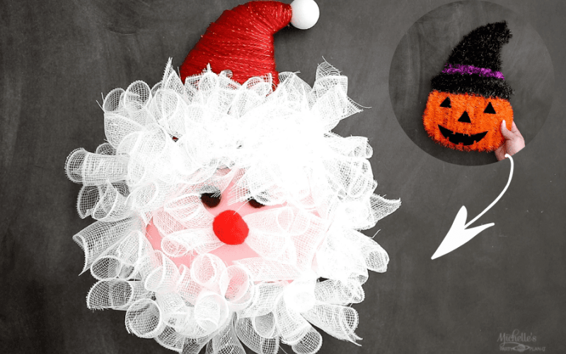 How to Make a Santa Wreath from a Halloween Decoration for $5