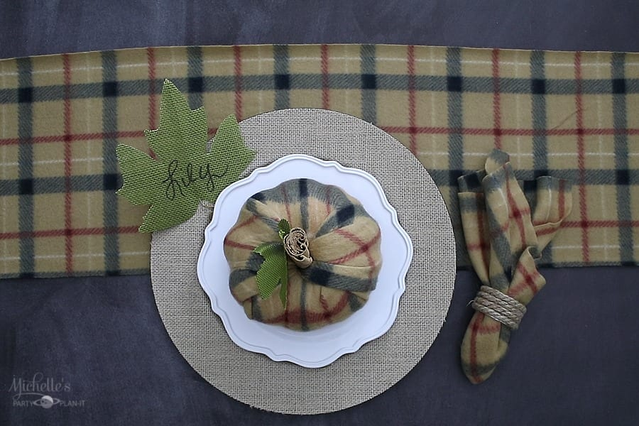 Easy Fall Table Decor - Brown Plaid