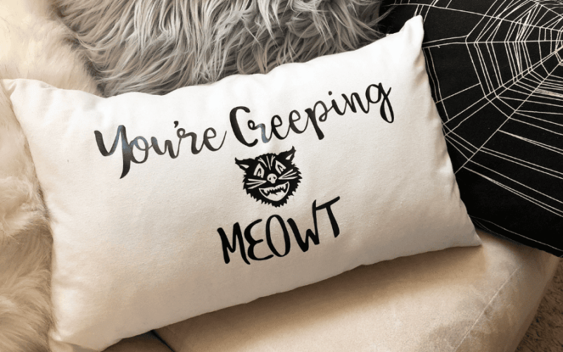 DIY You're Creeping MEOWT Halloween Pillow for Cat Lovers