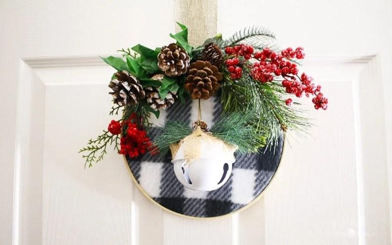 How to Make an Embroidery Hoop Christmas Wreath   Dollar Tree DIY
