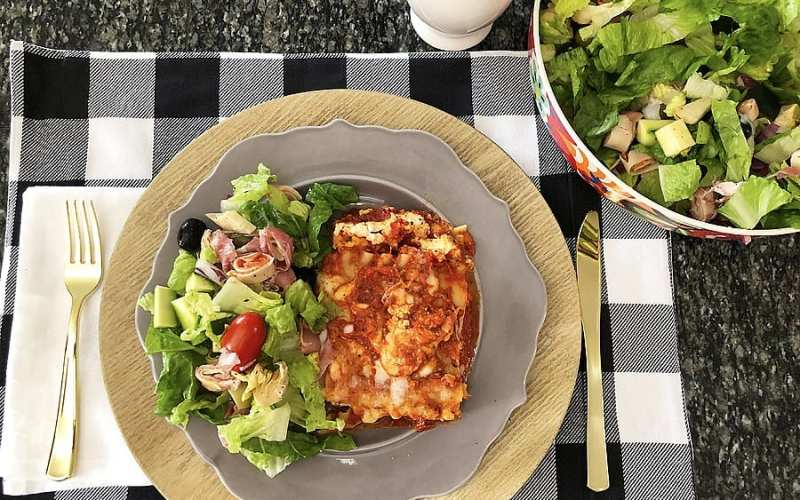 Chopped Antipasto Salad with Quick Weeknight Lasagna