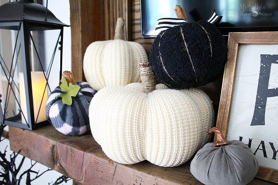 Fall thanksgiving mantle ideas - fabric pumpkin