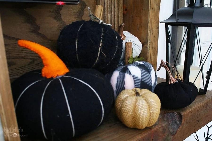 Fall thanksgiving mantle ideas - fabric pumpkins