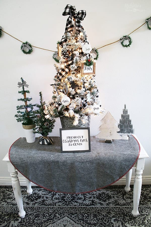 How to Decorate a Tabletop Farmhouse Christmas Tree with Cricut by Michelle Stewart