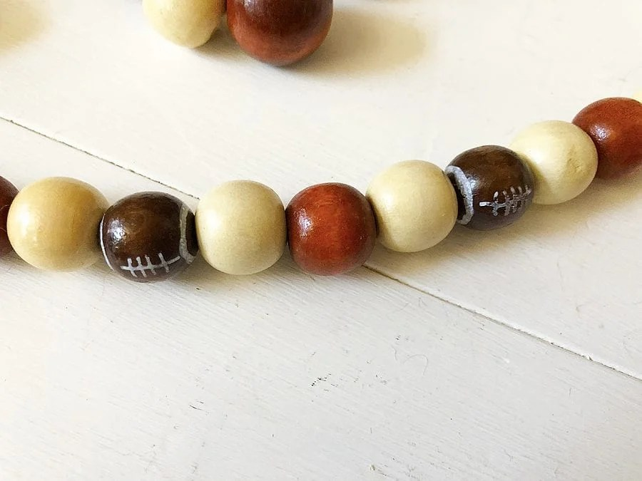 Diy football wood bead garland 2