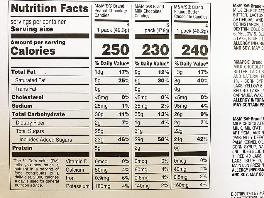 Mms variety nutritional info