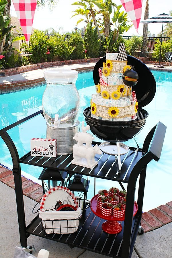 Outdoor bbq bar cart