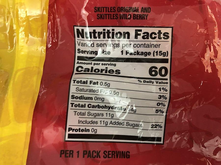 Skittles nutritional