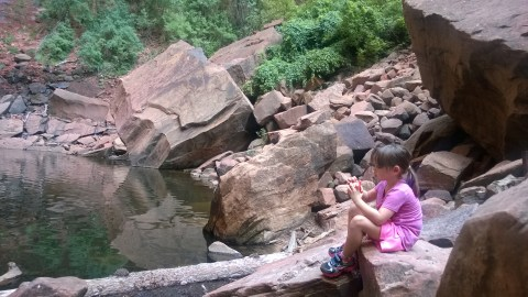 snack break at Upper Emerald Pool