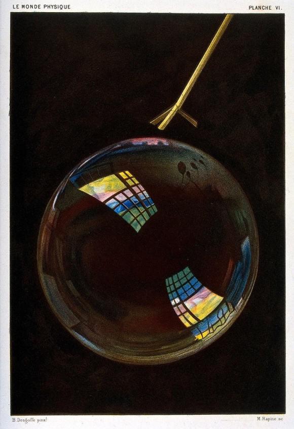 """""""Soap bubble"""", mezzotint by M. Rapine, after an image by Alexandre-Blaise Desgoffe; plate VI in Le monde physique (1882)"""