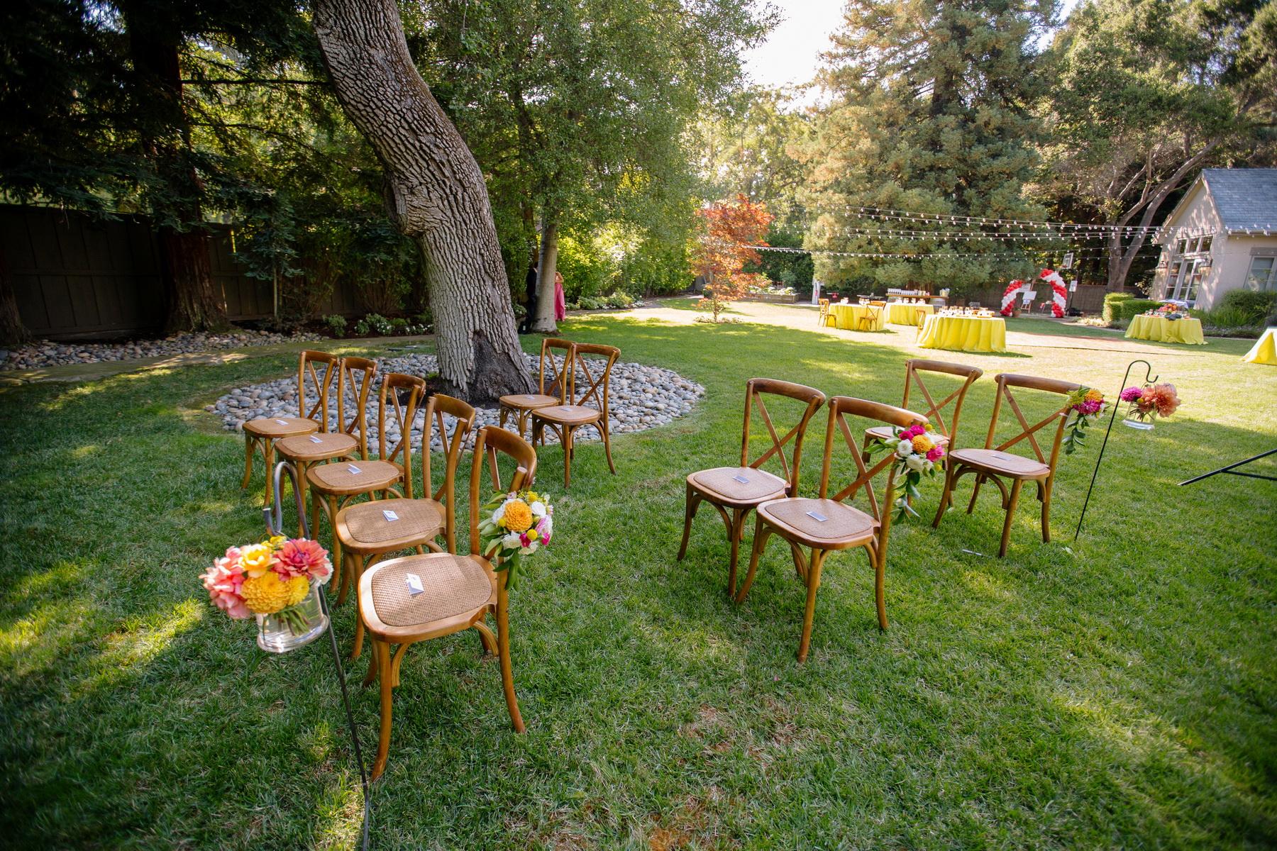 socially distanced backyard wedding ceremony