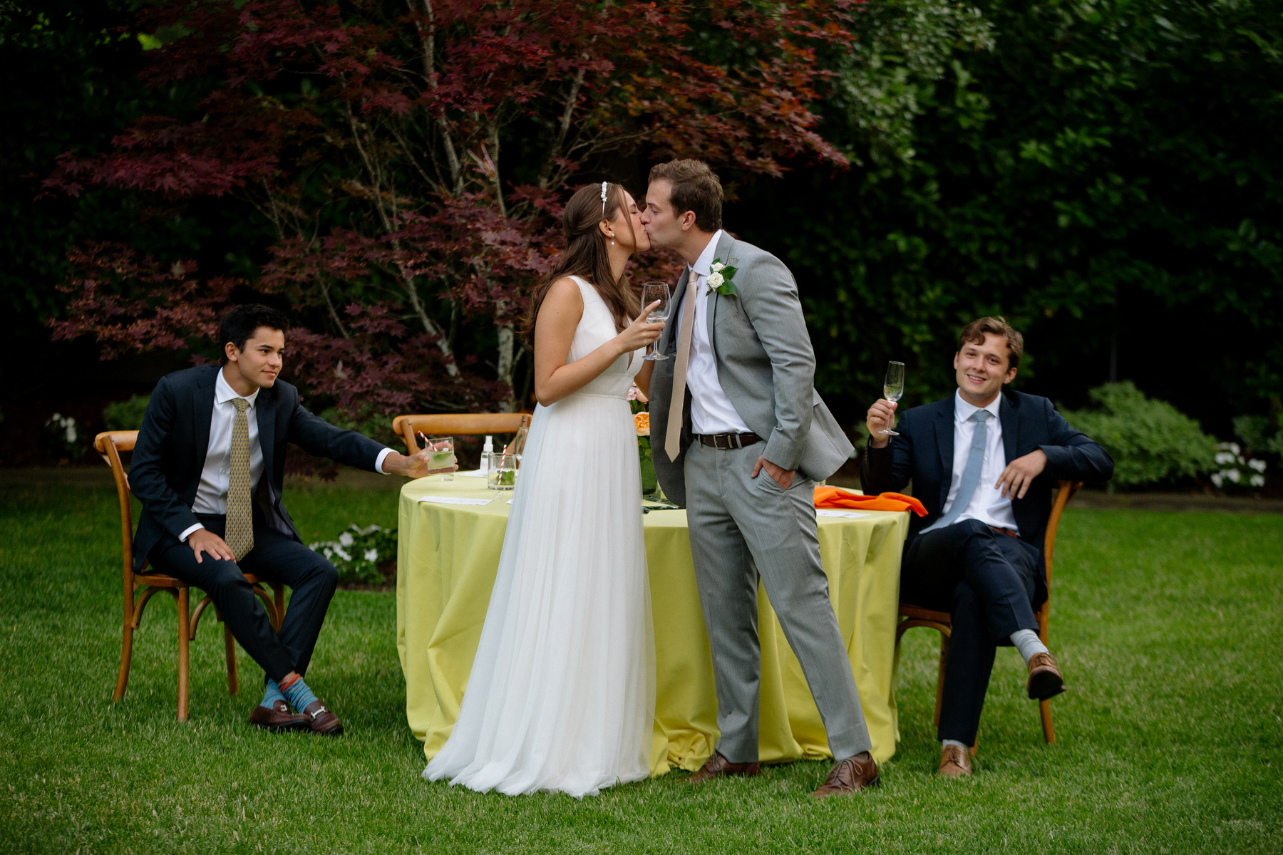 bride and groom give a toast at their backyard wedding