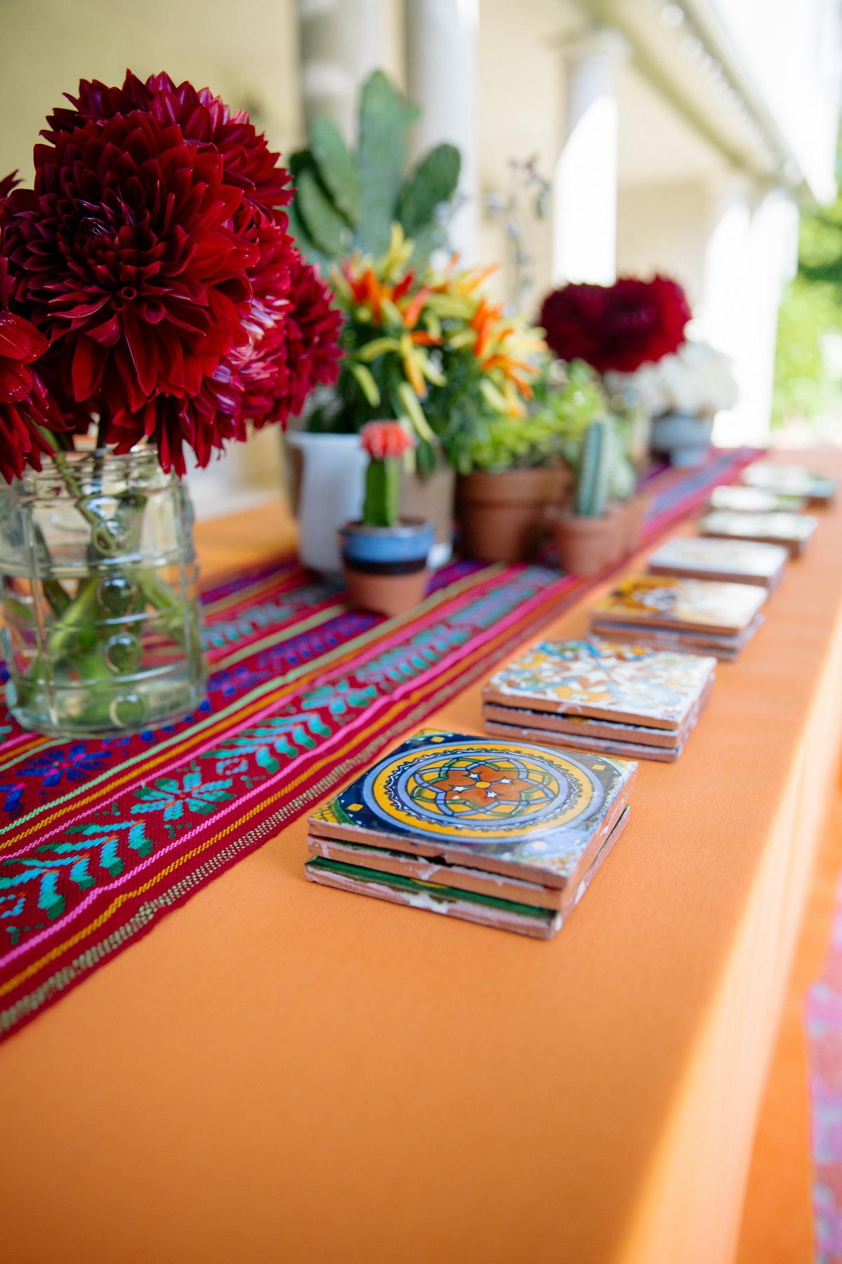 colorful mexican decor at a backyard wedding