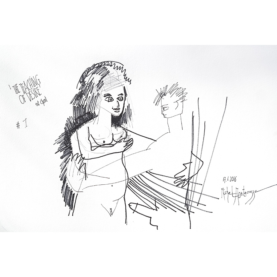 'The Teaching Of Desire' 1st Chant - drawing by Michel Montecrossa
