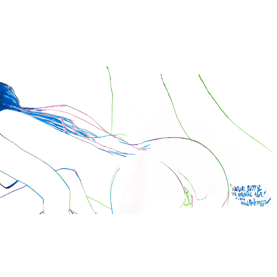 Virtual Body & The Erotic Age - drawing by Michel Montecrossa