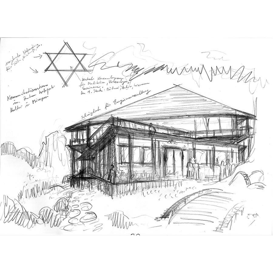 Mirapuri Communicationhouse - architectural sketch by Michel Montecrossa