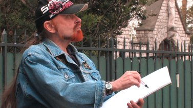 Michel Montecrossa working on his '8 DImensions' series of drawings in Paris