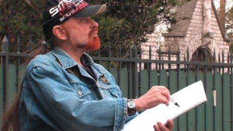 Michel Montecrossa working on his '8 DImensions' series of drawings in Paris