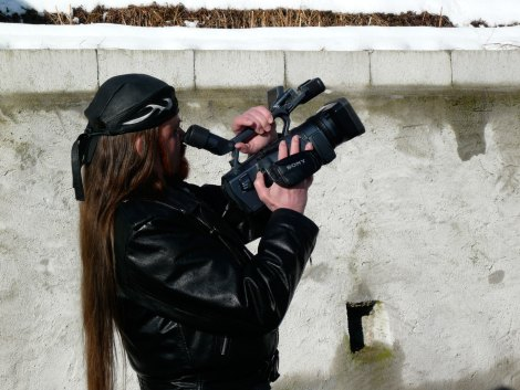 Michel Montecrossa as cameraman for his 'House Of Time' Movie