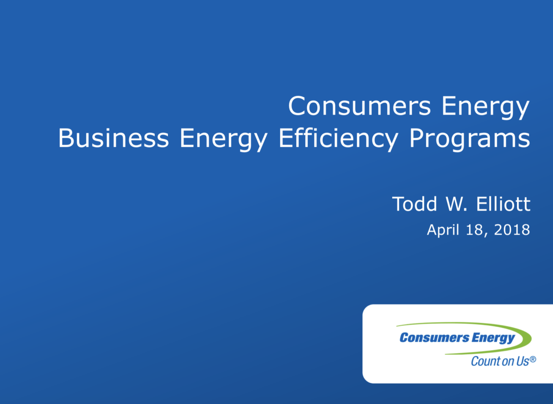Consumers Energy: Business Energy Efficiency Programs