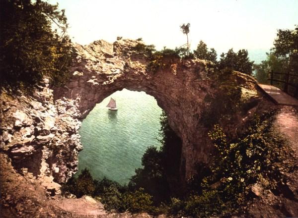 Arch Rock Mackinac Island Michigan c1899