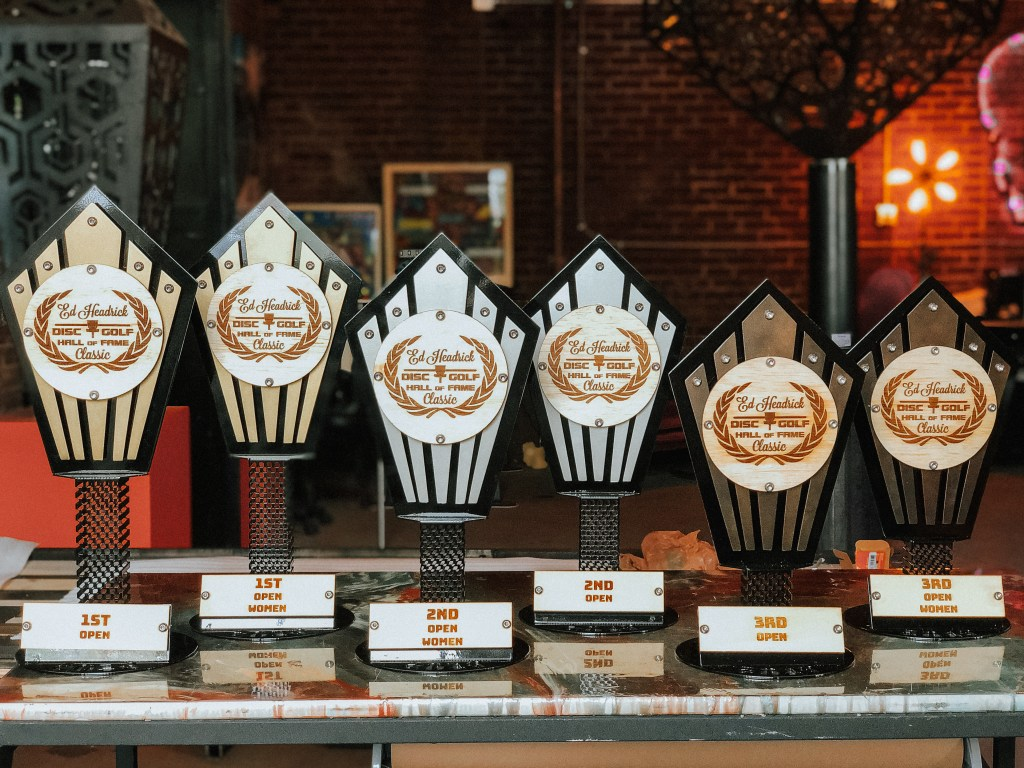 Custom metal trophies hand build by  Michigan Imagery for the Disc Golf Hall of Fame classic