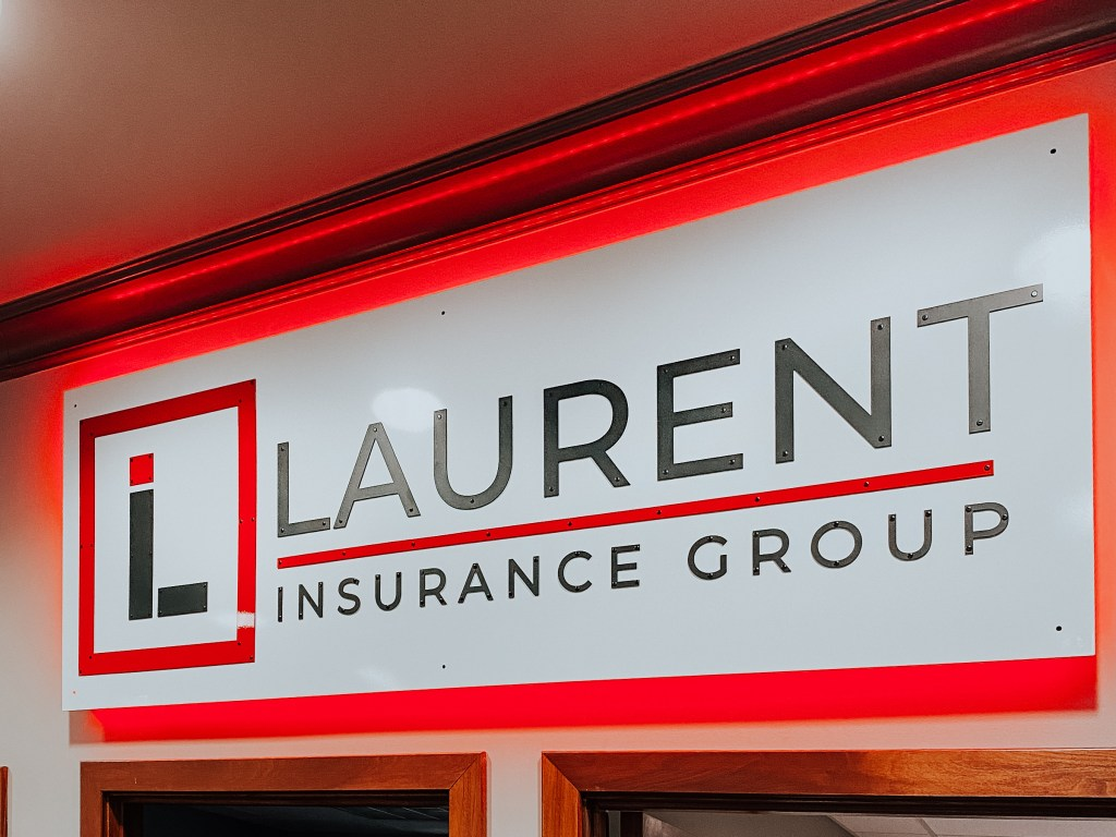Laurent Insurance Group custom metal sign. Metal sign created custom by Michigan Imagery