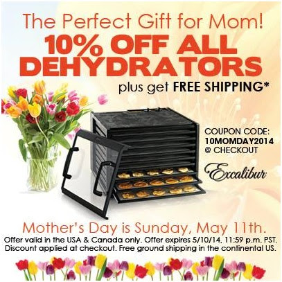 Mother's Day Coupon Code: Excalibur Food Dehydrator