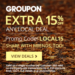 Groupon: Get an Extra 15% Off Any Local Deal Ends 10/21