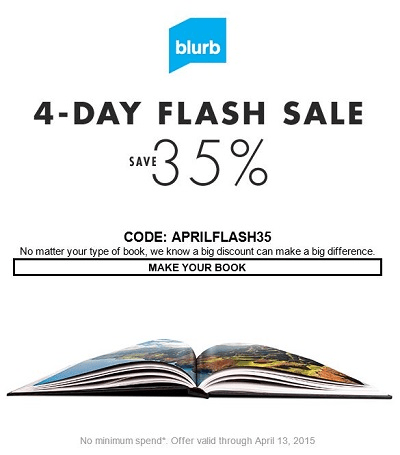 Blurb Flash Sale This Weekend Save 35%-Ends 4/13