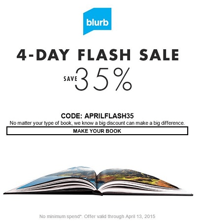 Blurb Flash Sale This Weekend Save 35%-Ends 4/13