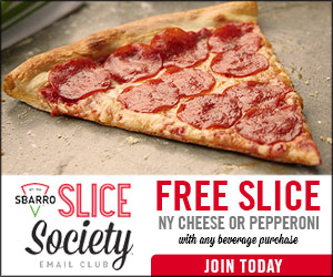 Get $2 off a $5 Smashburger Purchase and Free Slice of Sbarro Pizza with Purchase {Ends 6/30}