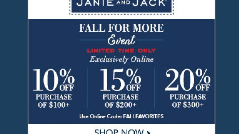 Janie and Jack: Fall Savings Up to 20% Off! Ends 9/18