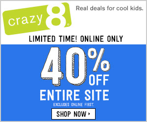 40% Off Entire Purchase at Crazy8 #Ad