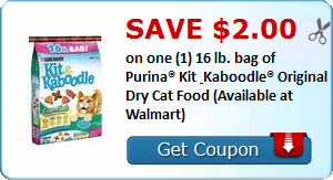 Daily Coupon Deals: Save $2 on One 16. lb Bag of Purina Kit Kaboodle Dry Cat Food