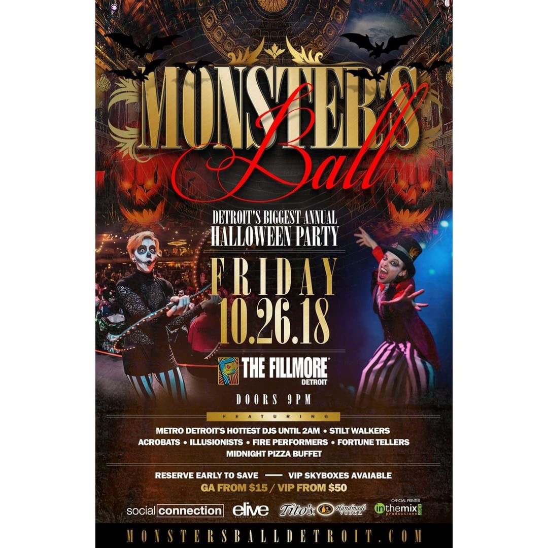 """""""Monsters Ball"""" Detroit's Biggest Annual Halloween Party 10/26/18 @ The Fillmore Detroit"""