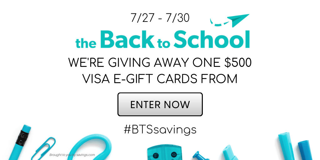 The Back to School Visa E-Gift Card Giveaway #BTSsavings