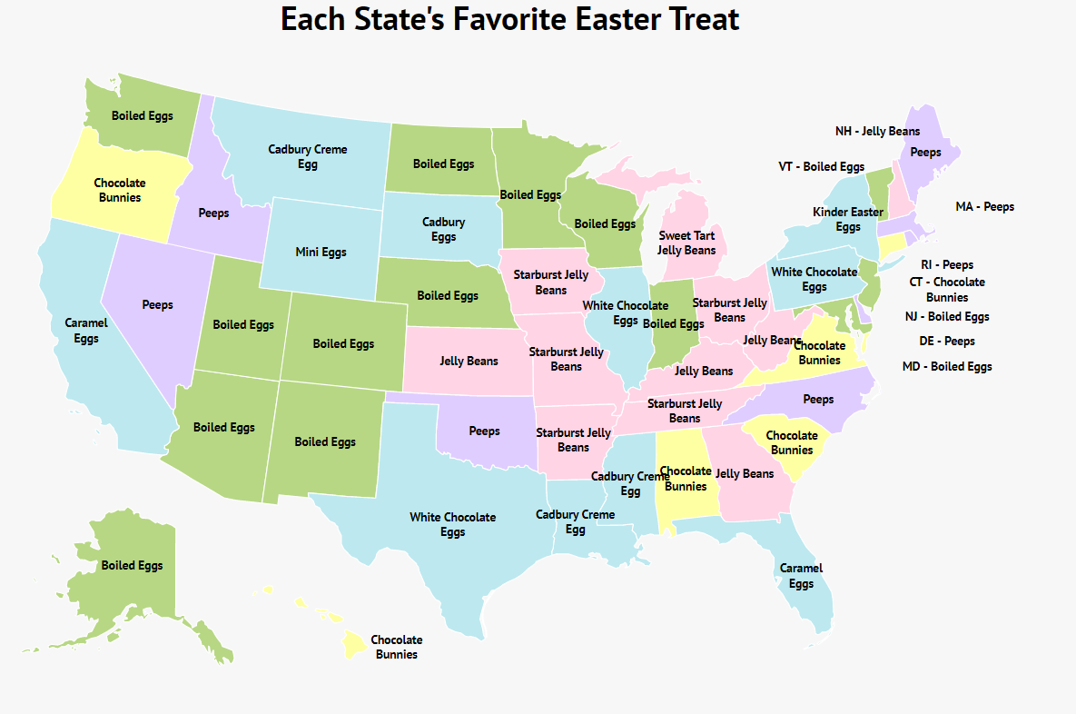 Each State's Favorite Easter Treat: Some States Like Peeps!