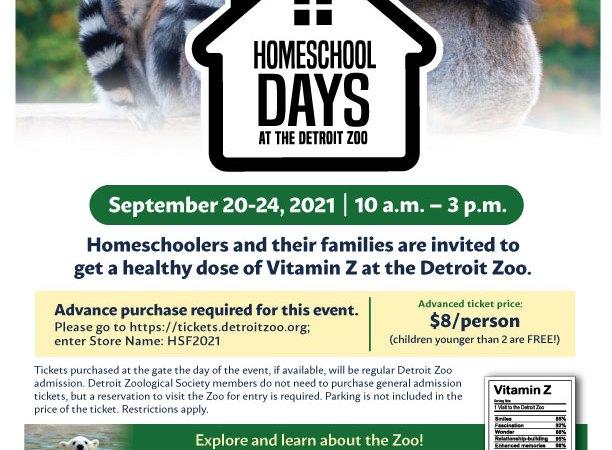 Homeschool Days at the Detroit Zoo, September 20-24, 2021