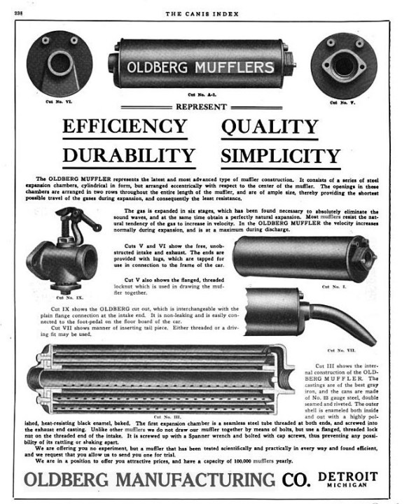 It took several hours of searching, but there were a few contemporary ads for our muffler AND the exhaust cut-out too.