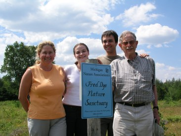 MNA said goodbye to dedicated volunteer and former trustee Fred Dye this year. Fred's legacy lives on through Fred Dye Nature Sanctuary, named in his honor in 2003. [Photo: (from left) former Stewardship Director Sherri Laier, Land Protection Technician Natalie Kent-Norkowski, former Executive Director Jeremy Emmi, and Fred Dye at the August 7, 2004 dedication of Fred Dye Nature Sanctuary]
